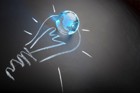 Global ideas and innovation concept on blackboard